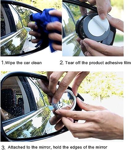 Set de vagones Punto Ciego Espejo Circular de 360 Grados Ajustable Punto Ciego Espejo para el estacionamiento del Espejo retrovisor OUTEYE 2pcs