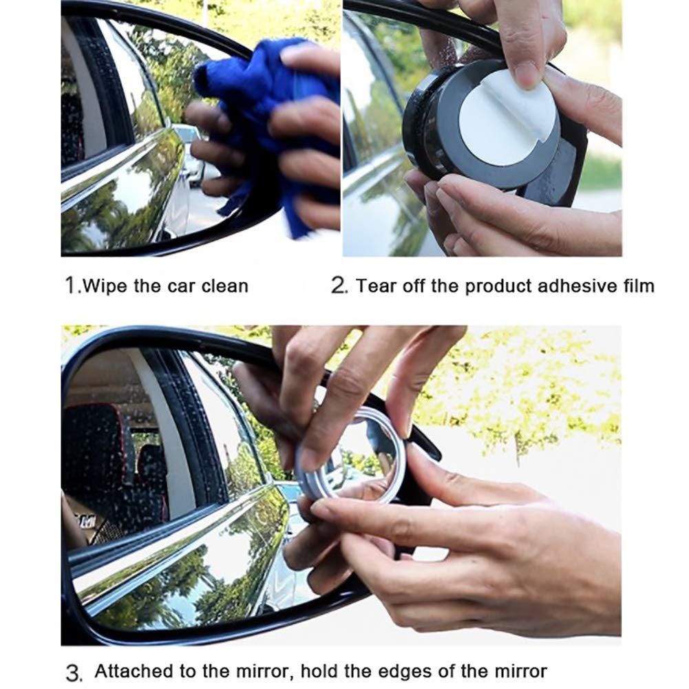 50mm Diameter 360 Wide Angle Adjustable Extra Mirror Uscyo Auto Blind Spot Mirror Set of 2 Black