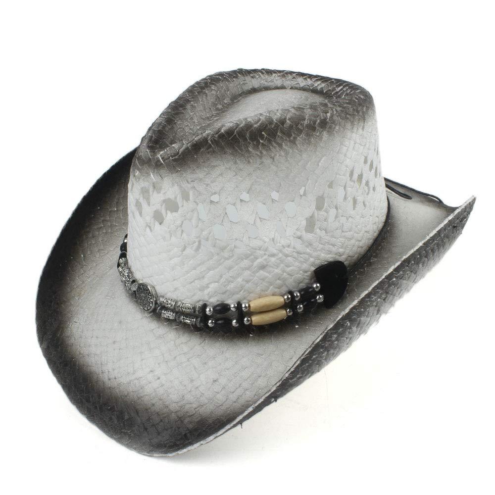 Color : 1, Size : 56-58CM Cowboy Felt Hat Fashion Straw Hat Western Cowboy Cap for Women Men Summer Fedora Hat Lady Cowgirl Sombrero Hombre Lifeguard Beach Sun Hats Size 56-58CM