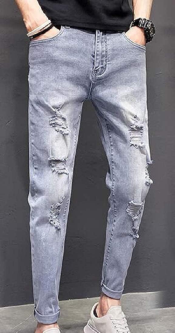 CBTLVSN Men Casual Slim Fit Skinny Jeans Washed Destroyed Ripped Denim Pants