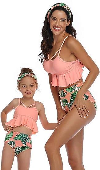 Herimmy Family Matching Swimwear Mommy and Me Swimsuit Ruffle Floral Bikini Mens Kids Swim Truck Beachwear Sets