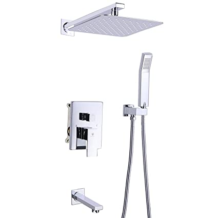 Himk Luxury Rain Shower System Wall Mounted Shower Combo Set With