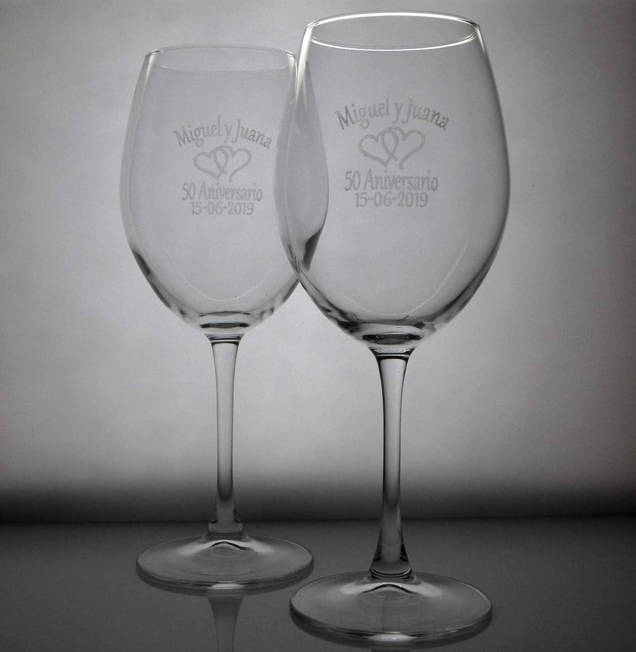 Arte-Deco Copas de Vino grabadas y Personalizadas con el Texto o dedicatoria Que Usted desee, presentadas en Estuche para Regalo.