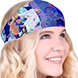 Best No Slip Multi Damask Stripe Printed Headband Wicking Work Out Wide Yoga Running Crossfit Sports Comfortable Spandex Perfect Gift Made in USA offers
