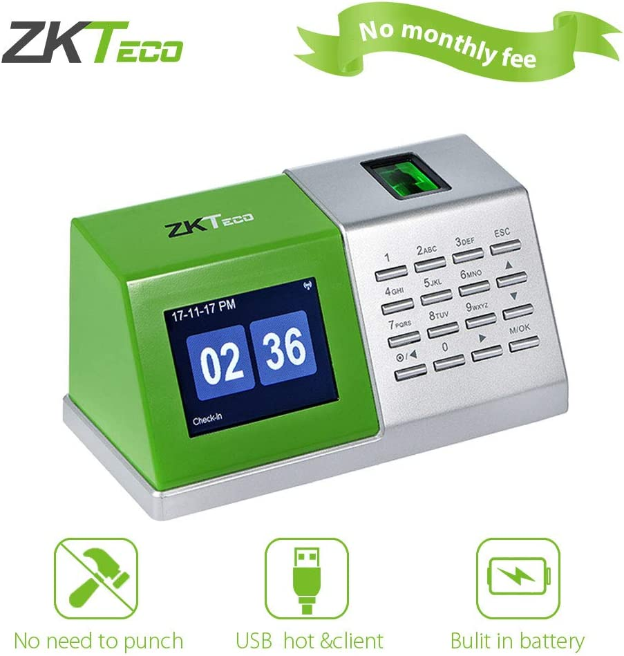 ZKTeco CT20 Fingerprint Time Attendance Machine Desktop Biometric Time Clock for Employee Small Business, No Installation and No Software Needed