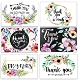Dream Planner Thank You Cards 48pcs Floral Flower Greeting Notes for Wedding, Baby Shower, Bridal, Bussiness, Anniversary, 6 Design Blank Inside 4 x 6 inch Pearl Envelopes and Stick Seals, Cards-02
