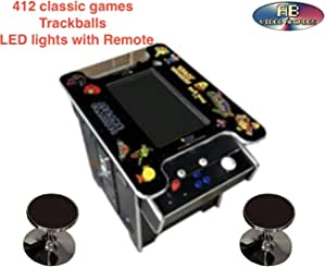 Abvideo Exclusive Huge 22 inch Screen with Adjustable Stools Video Game Machine Cocktail Arcade Machine 412 Classic Games Commercial Grade! with Trackball Led Strip BLKTC0233