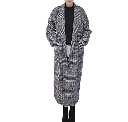 Señoras Abrigo De Lana Cálido Moda Celosía Abrigo Simple Abrigo De Lana Retro Mangas Largas Chaqueta...