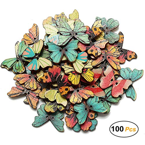 100 Pcs Colorful 2 Holes Mixed Butterfly Wooden Button for Sewing Scrapbooking DIY Craft Clothes Accessories, 1 Inch]()