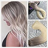 Moresoo 24 inch Straight Remy Human Hair Two Tone Ombre Color Ash Brown to Bleach Blonde Clip In Human Hair Extensions Full Head 120 Grams