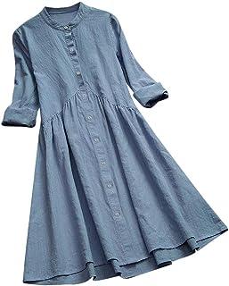Mikilon Women's Dresses Summer Plain Long Sleeve Button Down Swing Midi Casual Dress