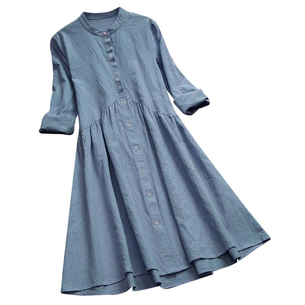 Clearance!! Womens Linen Dresses Plus Size, Vintage Solid Stand Collar Pleated Button Long Sleeve Casual Loose Mini Dress M-5XL (Sky Blue, Medium)