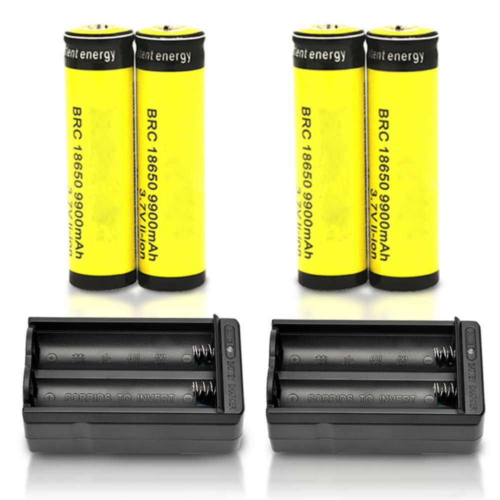 4PC 9900mAh BRC 3.7v 18650 Rechargeable Li-ion Battery + 2X Smart Battery Charger for LED Handheld Flashlights, Headlamp, RC cars by MOCCO