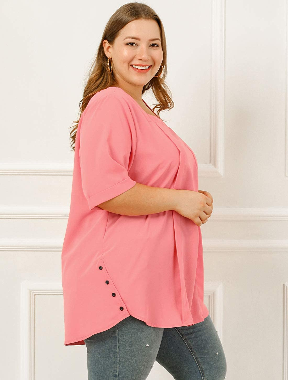 Agnes Orinda Womens Plus Size Chiffon Blouse Square Neck Half Sleeve Pleated Casual Top