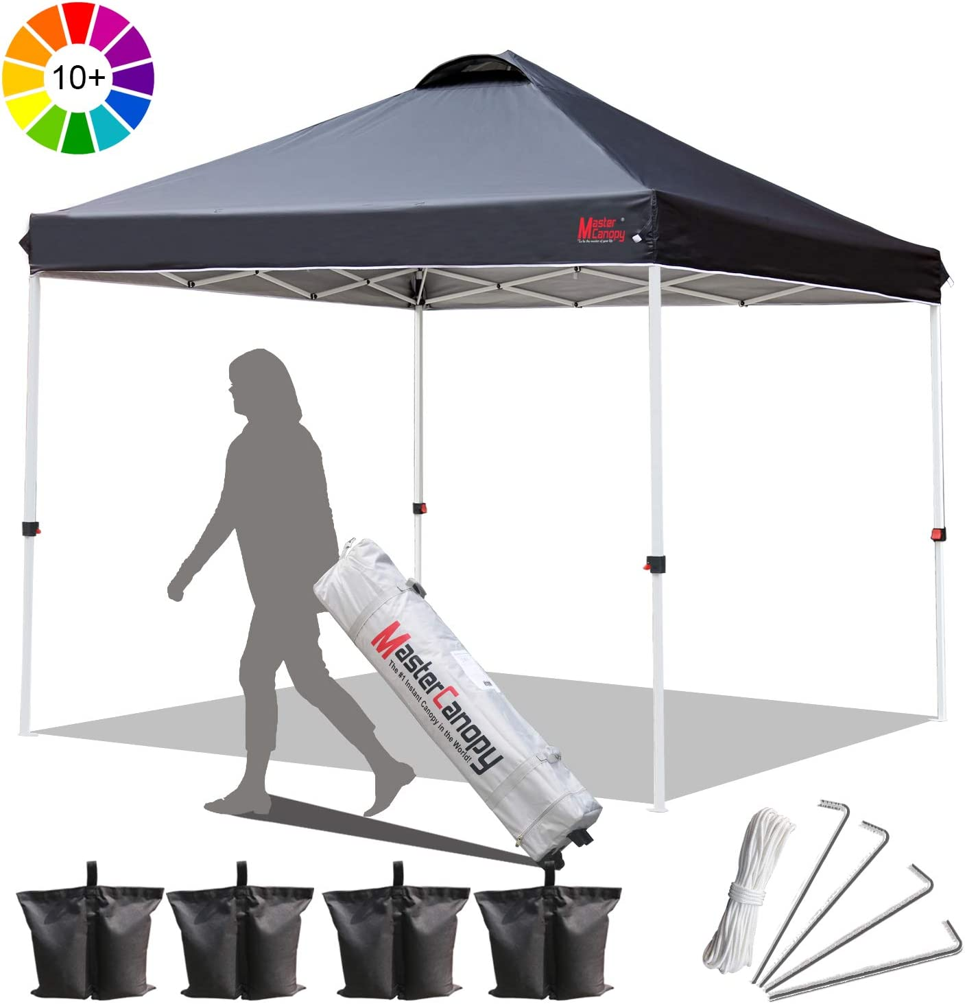 MasterCanopy Compact Gazebo Pop up Gazebo Marquee Tent Portable Shade Instant Folding Better Air Circulation Canopy with Wheeled Bag,x4 Canopy Sandbags,x4 Tent Stakes 2x2M,Black