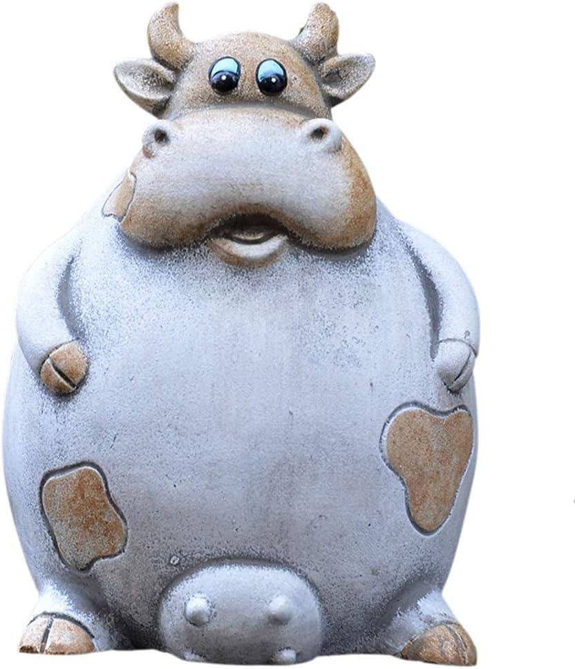 AOOROBE Cement Dairy Cow Sculpture,Creative Animal Statue Art Gift Handicrafts for Home Decoration Garden Patio Decor Landscape Fortune