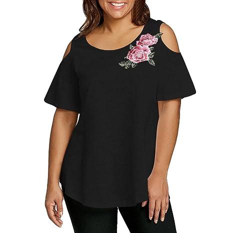 Camiseta Sexy Mujer, ❤️Xinantime Camisetas Mujer Verano Elegante Blusa Mujer Manga Corta Algodón Camisetas Mujer Fiesta Camisetas Sin Hombros Mujer ...