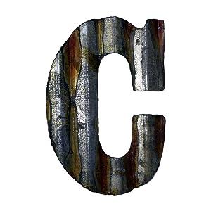Custom Cut Decor 8'' Rusty Galvanized Corrugated Metal Letter -C