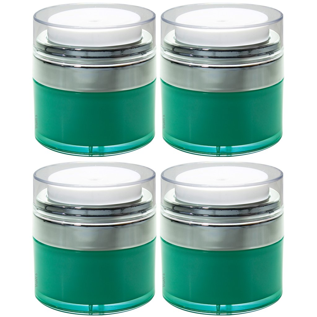 Teal Blue Airless Refillable Jar 0.50 oz / 15 ml (4 Pack) Keeps Out Bacteria and air Changing Oxidation from Your Skin Care Products - Durable, Leak Proof, and shatterproof for Home or Travel