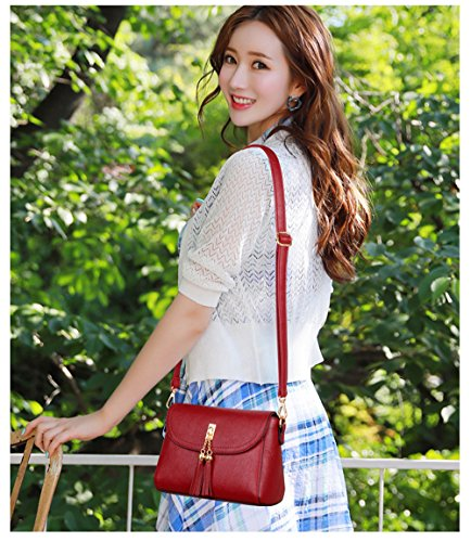 Wallet Ladies Leather Claret Bag Handbag Bag SJMMBB Satchel Shoulder fxgaqg04