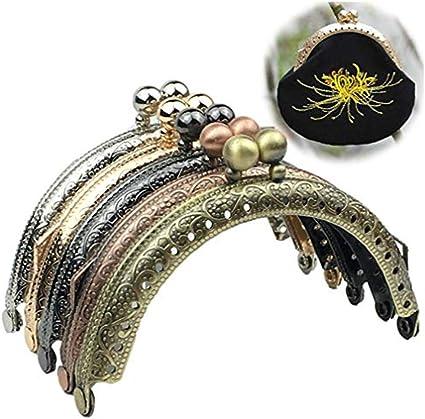 GuoFa Metal Frame Purse Coin Bag Kiss Clasp Lock DIY Craft Assorted Lotus Bead 10PCS 8.5X4.5CM