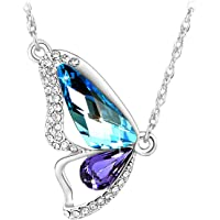 Le Premium® Mariposa Colgante Collar de Mariposa con Swarovski® Elements Aquamarin + Tanzanita/Rosa Claro/Tanzanita Lila + Aquamarin Azul