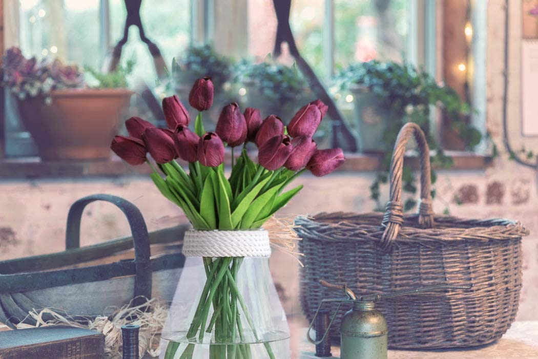 Hotel Kunstblumen f/ür Hochzeitsstr/äu/ße Zuhause Gartendekoration Weihnachten 20 St/ück Justoyou Tulip Real Events rot als Geschenk
