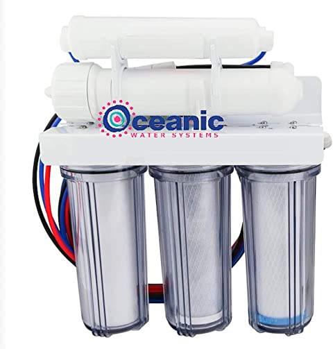 Oceanic 5 Stage Reverse Osmosis Water Filter System with Clear Housing 50 GPD