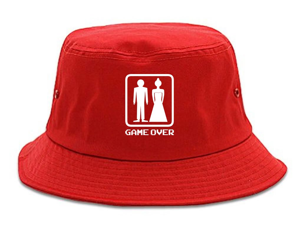 Game Over Funny Wedding Mens Bucket Hat Red