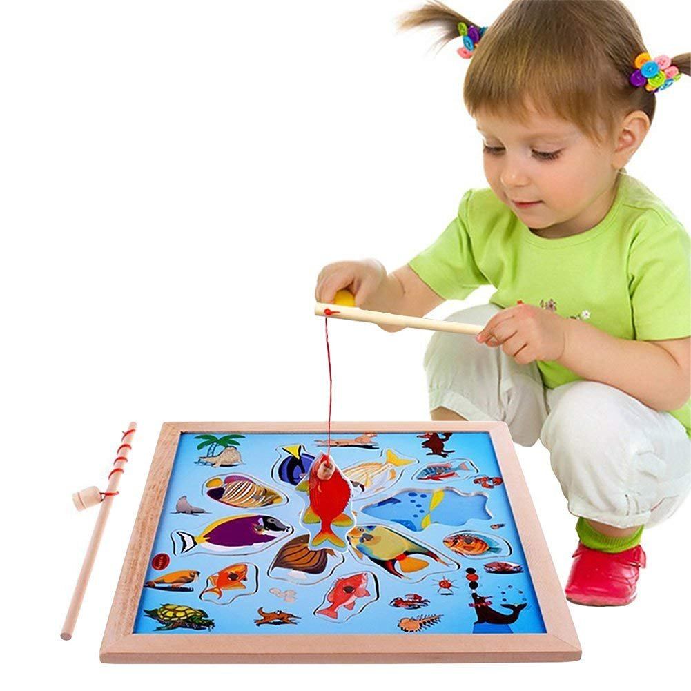 Lewo Magnetic Wooden Puzzle Fishing Game Playset with 11 Fishes and 2 Poles