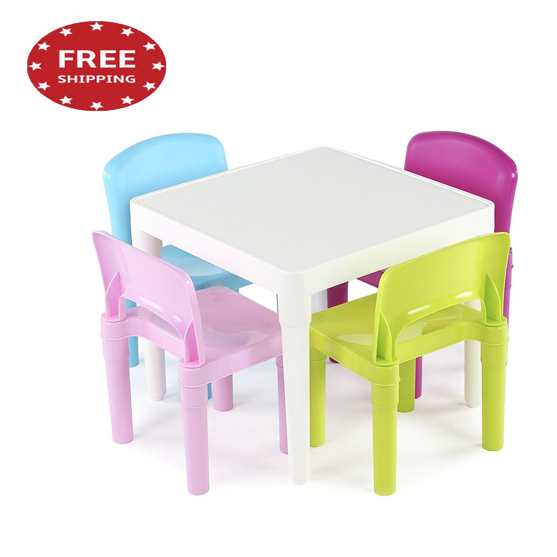 jnwd Kids Work Table Set Small Child Plastic 4 Chairs Toddler Activity Games Hobbies Station in Pretty Colors & e-Book by jn. Widetrade.
