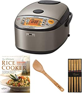 Zojirushi Induction Heating Rice Cooker/Warmer (10-Cup/Dark Gray) with Bamboo Spatula, Chopsticks (5 Pairs) and Cookbook Bundle (4 Items)