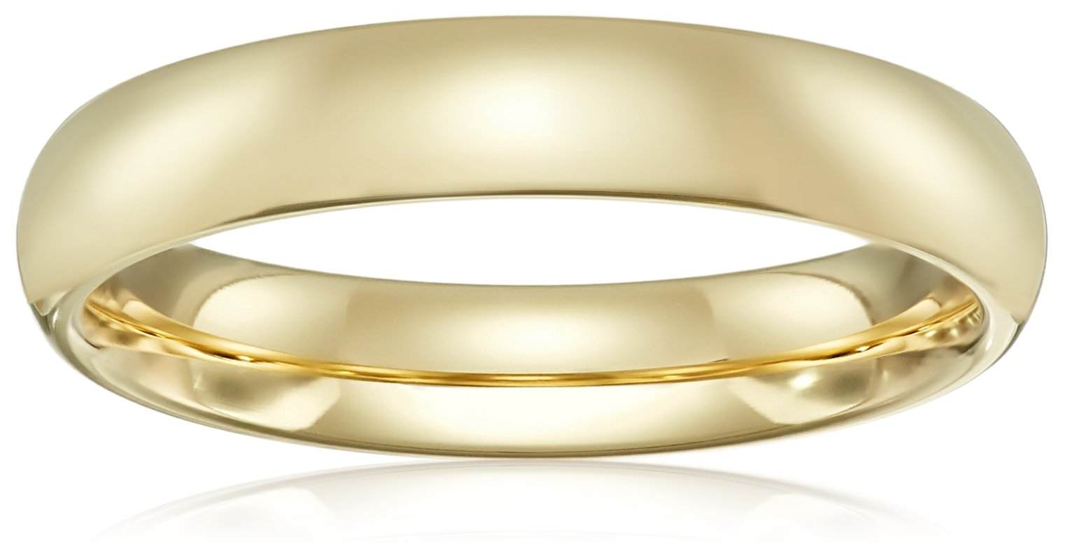 Standard Comfort-Fit 10K Yellow Gold Band, 4mm, Size 12