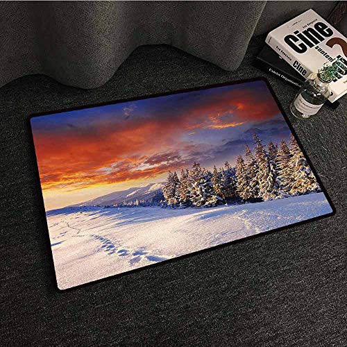 Vw Valley Wash - DILITECK Outdoor Doormat Winter Epic Cloudy Sky Over Majestic Mountains and Footsteps on Valley Decor Machine wash/Non-Slip W30 xL39 Orange White