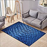 Classroom Rug,Animal Print Collection,Colored Snake Skin Pattern Alligator Fancy Luxury Leather Clothing Artwork,Children Crawling Bedroom Rug,4'11'x5'10',Blue