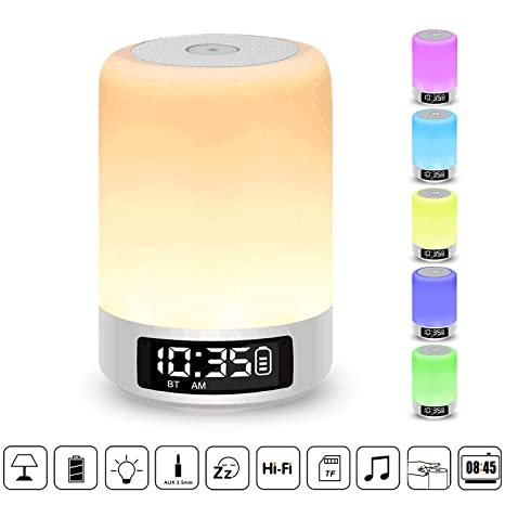 Home & Garden Supply Wake Up Light Table Clock Wireless Bt Lighting Speaker Rgb Color Changing Table Desk Clock Support Tf Card Fm Radio Home Decor