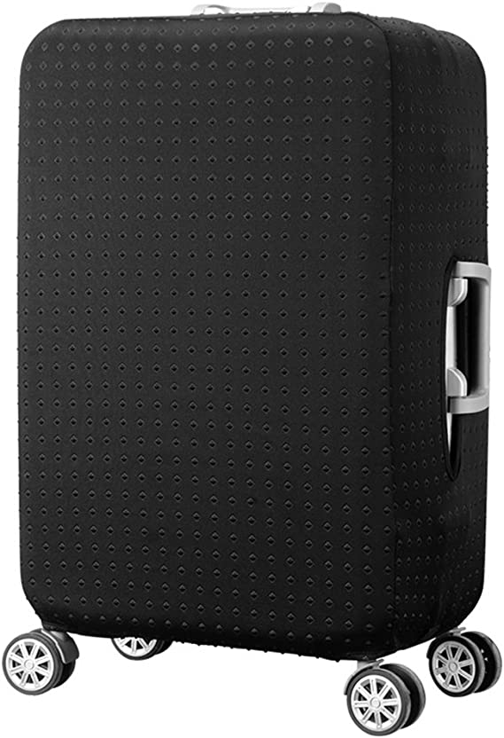 Treer Stretch Print Polyester Fabric Waterproof Dustproof Trolley Luggage Case Cover with Zipper Closure Travel Suitcase Cover Elastic Baggage Protectors 19-21in Black,S