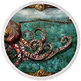 Pixels Round Beach Towel With Tassels featuring ''Steampunk - The Tale Of The Kraken'' by Mike Savad