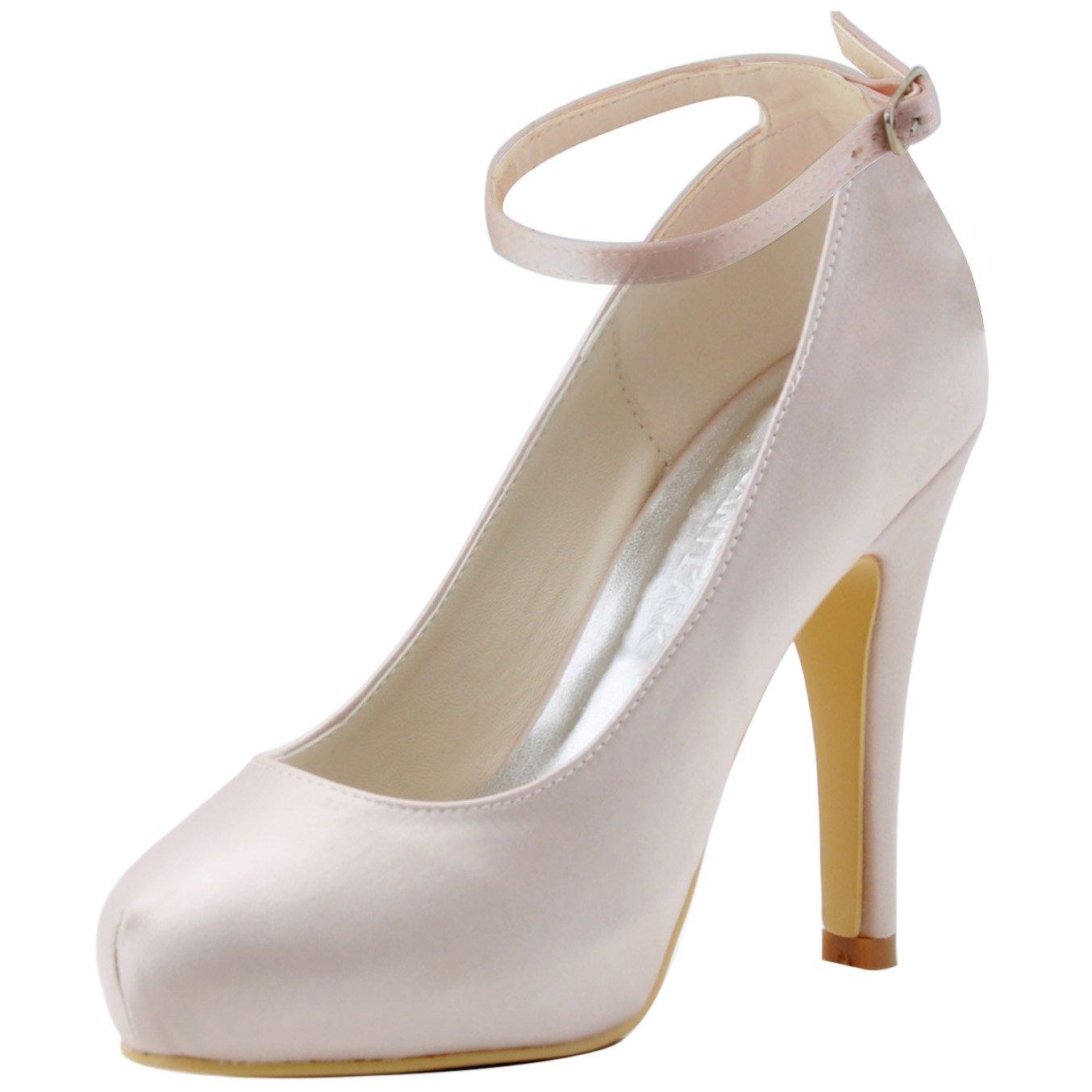 ElegantPark Women Pumps Closed Toe High Heel Platform Ankle Straps Evening Wedding Shoes B013UARUEK 9 B(M) US|Beige