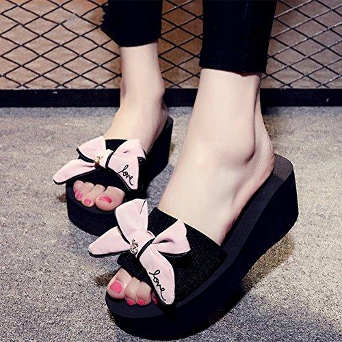 Bow Big Femme Plat Noeud Blue Plage Pantoufles Été Plage Glissière Glissement Main Mot Papillon Pink 41 Sandals Code d1f0YqwS0