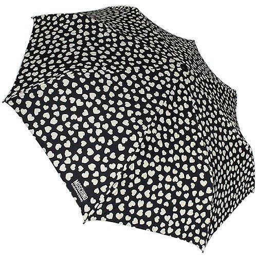 Moschino - Paraguas, diseño de corazones, color negro