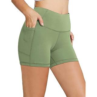 "BALEAF Women's 5"" High Waist Workout Yoga Shorts Tummy Control Side Pockets Olive Green M"