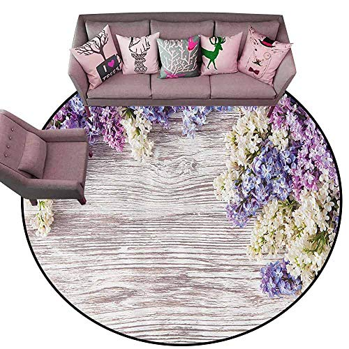 Floor Entrance Rug Rustic Home Decor,Lilac Flowers Bouquet on Wood Table Spring Nature Romance Love Theme,Lilac Violet Dark Taupe Diameter 66