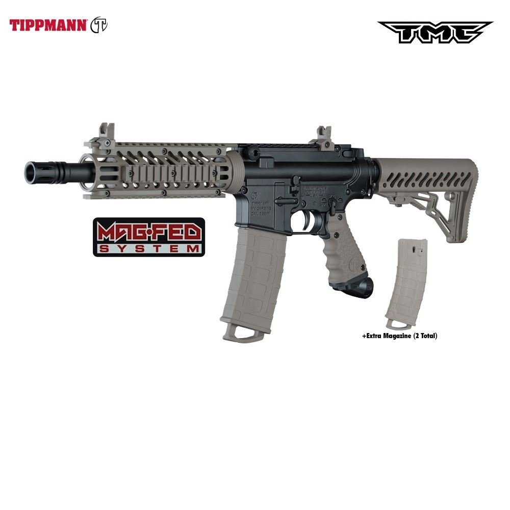 Tippmann TMC MAGFED Paintball Marker, Black/Tan by Tippmann