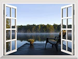 """Removable Wall Sticker/Wall Mural - Peaceful Lake View with a Chair on a Wooden Pier 