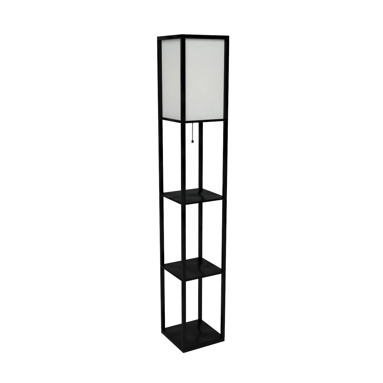 Simple Designs Home LF1014-BLK Etagere Organizer Storage Shelf Linen Shade Floor Lamp, Black by Simple Designs Home (Image #7)