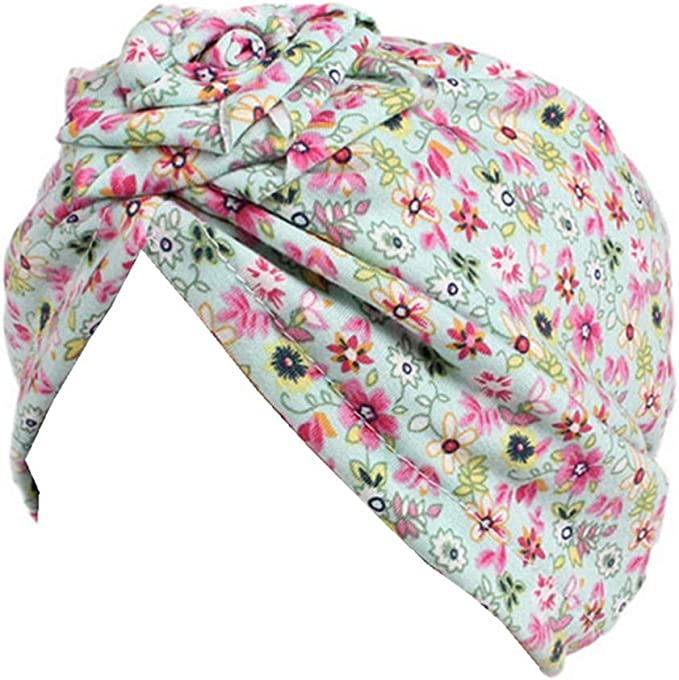 Floral Print Beanie Hat Knotted Headband Kids Baby Turban Cute Baby Cap