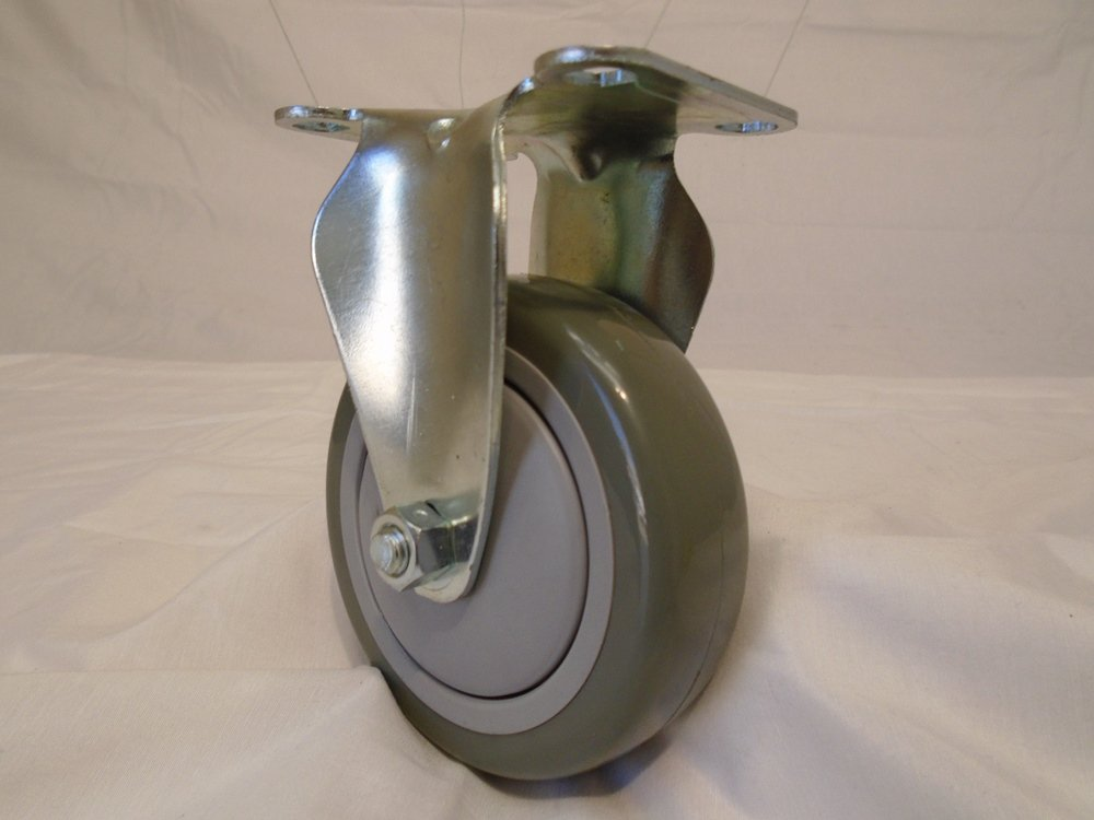 4'' X 1-1/4'' Swivel Caster Gray Polyurethane Wheel with Brake 400 Lbs Each (2) and Rigid(2) Tool Box by Creative Industrial Sales (Image #6)