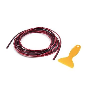 sourcingmap Coche Rejilla Embellecedor Moldura Cinta Decorativa Tira Rojo 6MM 5M: Amazon.es: Coche y moto
