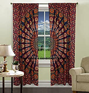 Indian Peacock Mandala Cotton Hippie Tapestry Door Cutain Decor Window  Curtains Drape Room Curtain Balcony By